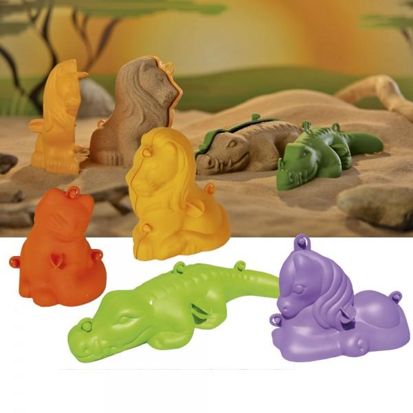 Maxi 3-D sand figures cat, pony, lion and crocodile